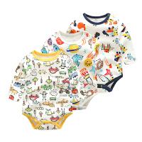 婴儿连体衣服宝宝新生儿季0岁6个月三角长袖休闲哈衣春季款
