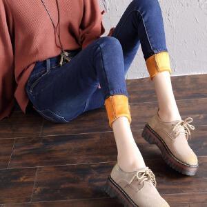 女裤牛仔裤女冬季2017新款中高腰加绒铅笔裤百搭小脚长裤