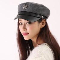 帽子女韩版潮十字架毛呢军帽八角帽贝雷帽女士鸭舌帽