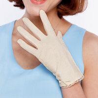 骑车开车手套女短款蕾丝手套女双层防晒防紫外线手套