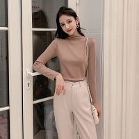 针织衫 女士拼接半高领打底衫2020冬季新款韩版女式修身长袖针织衫学生内搭套头衫