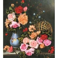 丝带绣客厅挂画新款欧式花卉材料包立体绣非十字绣成品客厅挂画手工