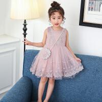 女童连衣裙夏装中大童夏季公主裙洋气短袖蕾丝裙子潮