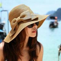 可折叠太阳帽大沿沙滩帽海边出游遮阳帽子女士韩版蝴蝶结草帽