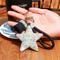 镶钻五角星挂件饰品汽车钥匙扣创意星星钥匙链包挂件