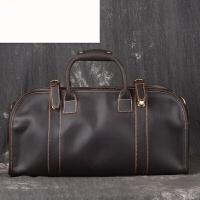 头层牛皮男士手提包旅行出差包真皮商务大容量斜跨行李包 油皮深棕色