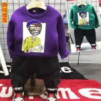 儿童装男童抓绒加厚卫衣长裤两件套装分开卖2018春冬装新款G025 P