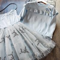 韩国童装女童针织毛衣+打底裙连衣裙两件套2018春装新款韩版套装
