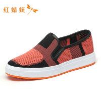 红蜻蜓秋季新款便捷套脚舒适炫丽潮流女鞋单鞋女-