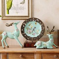 家居饰品装饰品酒柜摆件鹿玄关房间客厅创意盘装饰摆设麋鹿工艺品