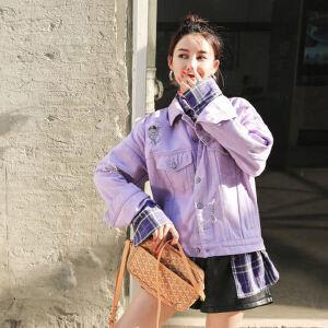 七格格秋季牛仔外套女春秋装新款宽松学生韩版bf嘻哈棒球服短款