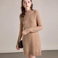 羊绒衫女中长款半高领套头毛衣裙秋冬厚针织外套连衣裙
