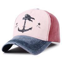 韩版秋冬季情侣帽子男女士纯棉棒球帽做旧海盗船锚遮阳帽