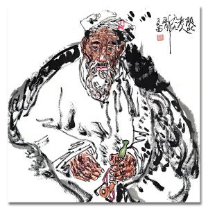 中国美术协会顾问 刘文西《陕北老人》LL287