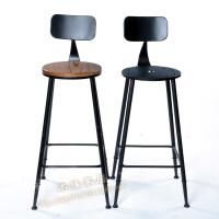 20190718064613462复古铁艺家用酒吧吧台凳高脚椅家用吧椅高吧凳前台靠背椅实木凳子