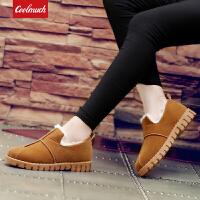 【领券立减100】Coolmuch女棉鞋2019新款简约百搭加绒保暖低帮套脚休闲棉鞋BJC01
