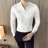 英伦男士长袖衬衫修身韩版发型师休闲印花寸衫潮流男装白色衬衣秋