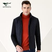 【专柜同款】七匹狼男装 秋冬新品针织立领单夹克男款 中年男装外套1081005