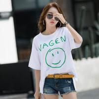 韩版加大码春夏新品半袖女时尚宽松慵懒风显瘦短袖T恤遮肉潮