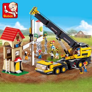 【当当自营】小鲁班工程系列儿童益智拼装积木玩具 重型起重车M38-B0553