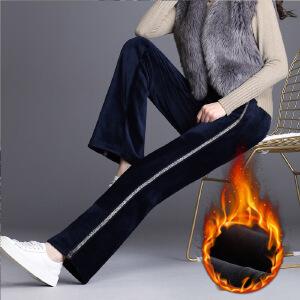 新款秋冬加绒加厚金丝绒微喇裤女高腰特大码直筒长裤坠感阔腿裤