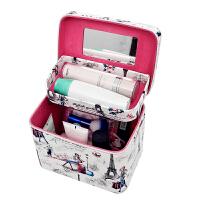 日韩新款化妆包化妆箱复古印花手提双层大容量防水化妆品收纳包包 花朵小款卡其