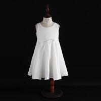 2018新款女童夏装亚麻背心裙抽带大摆裙荷叶边白色连衣裙公主裙子