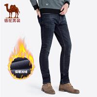 骆驼男装 秋冬新款青年时尚磨白中腰直筒加厚水洗牛仔裤男