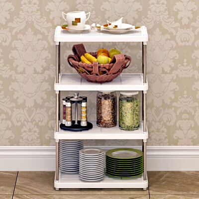 索尔诺置物架 厨房层架塑料落地收纳储物架 浴室客厅整理架子四层Z614多用途加宽保拆装简单