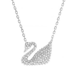 施华洛世奇Swarovski女士水晶质感天鹅吊坠项链银色锁骨链5007735