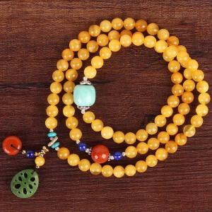 蜜蜡创意设计DIY绕3圈手链 配绿松石桶珠