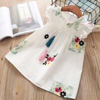 童装裙子夏纯棉花朵刺绣背心裙女童荷叶边小飞袖洋气款连衣裙