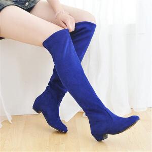 ELEISE美国艾蕾莎新品秋冬188-9-6韩版磨砂绒面平跟女士长筒靴