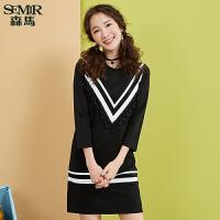 森马连衣裙女秋季女装韩版显瘦弹力针织直筒小清新长袖