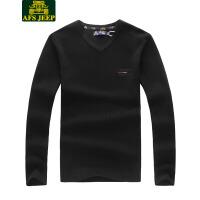 战地吉普AFS JEEP 2017秋冬新品男士V领针织衫男装纯棉套头长袖毛衣7005