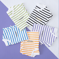 儿童短袖T恤男童条纹半袖女童夏季中童蓝白夏装黑白