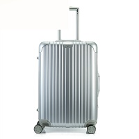 PC拉杆箱铝框万向轮26寸商务旅行箱密码行李箱28寸24寸20男女 银色 铝框 20寸