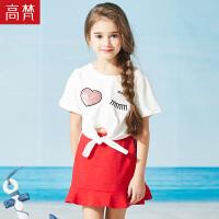 高梵2019年夏季新款女童亮片装饰打结T恤