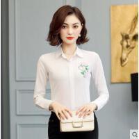 纯棉衬衫女长袖户外新品网红同款新款韩版修身百搭白色刺绣衬衣上衣
