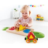 Hape火车轨道-几何分类积木18个月以上婴幼玩具木制玩具亲子互动 E3810