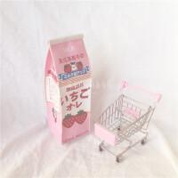 韩国可爱软妹萝莉少女童趣草莓牛奶粉嫩卡通盒笔袋