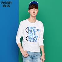 森马长袖T恤男韩版数字休闲男士圆领套头单车印花青年打底衫体恤
