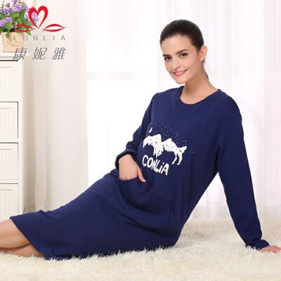康妮雅冬季新款睡裙 长袖印花圆领连衣长裙家居服先领卷后购物 满399减50