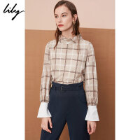 Lily春新款女装格纹立领袖口拼接长袖雪纺衫118320C8614