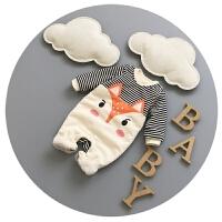 新生儿衣服卡通加厚冬季0-3个月男宝宝连体衣抓绒秋冬婴儿冬装潮6