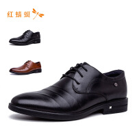 红蜻蜓圆头简约商务百搭低跟时尚男单鞋