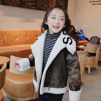 女童棉衣外套冬2017新款童装加绒加厚棉袄 羊羔毛麂皮绒机车