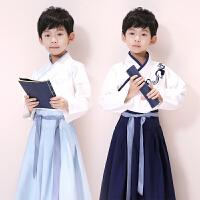 儿童汉服小孩中国风男孩古装套装国学服小书童表演服装复古夏装