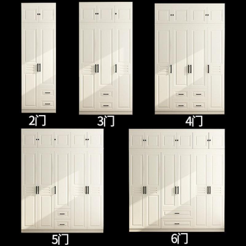 实木衣柜组装六门大衣柜现代简约经济型整体柜子卧室组合欧式衣柜 +顶柜 6门 组装