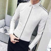 港风新款春季白衬衫男长袖修身 韩版潮流帅气发型师衬衣寸衫